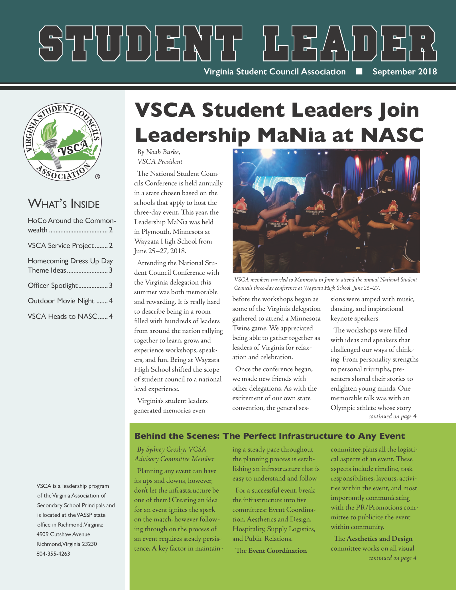 VSCA newsletter - Sept18_Front
